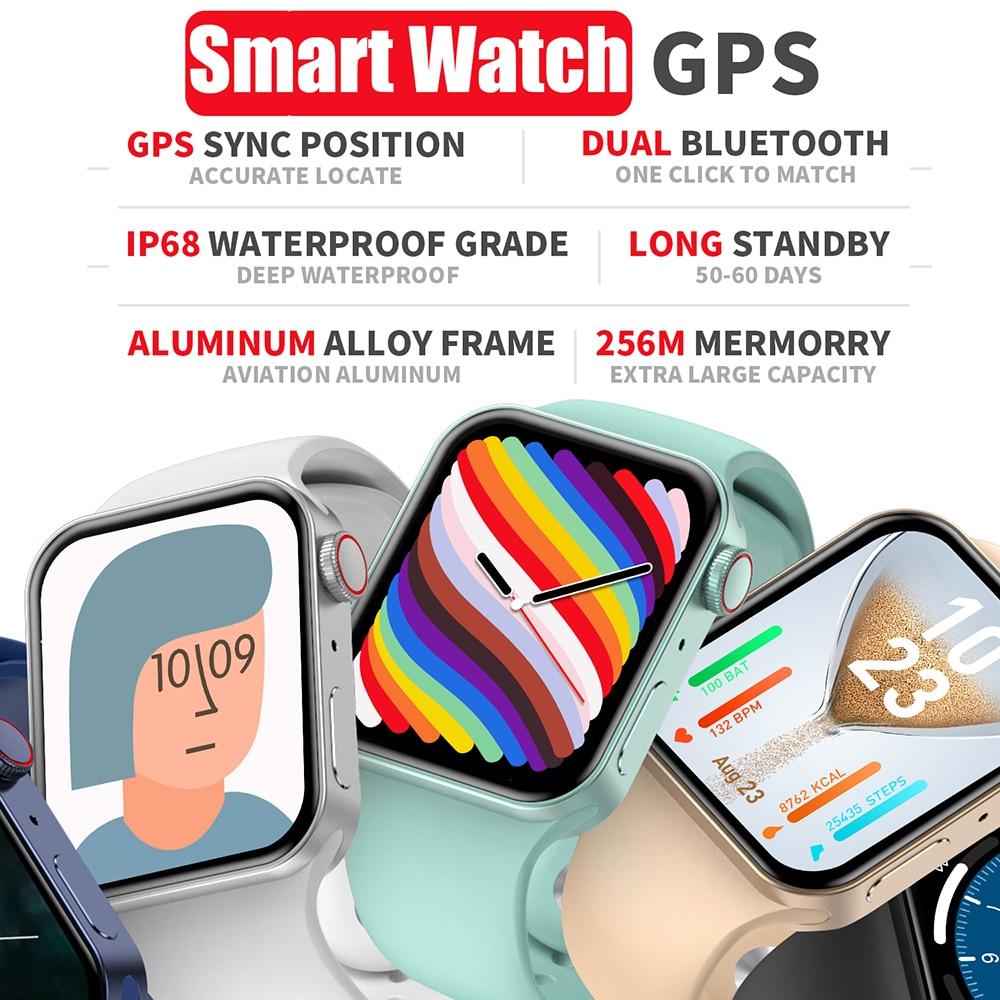 GEJIAN Men Smart Watch Women Series 7 GPS 44mm Fitness Tracker Bracelet Heart Rate Monitor Smartwatc