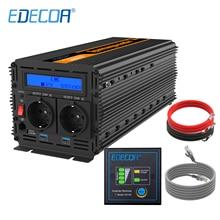 Onduleur EDECOA 3000W AC 220V 230V 240V cc 12V onde sinusoïdale modifiée avec écran LCD USB 5V 2.1A et télécommande
