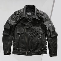 genuine leather clothes male factory direct supply multi pocket lapel oblique zipper leather jacket brown leather jacket