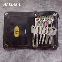 vintage leather hasp car key holder case wallet with much key hooks men women purse with credit card holder
