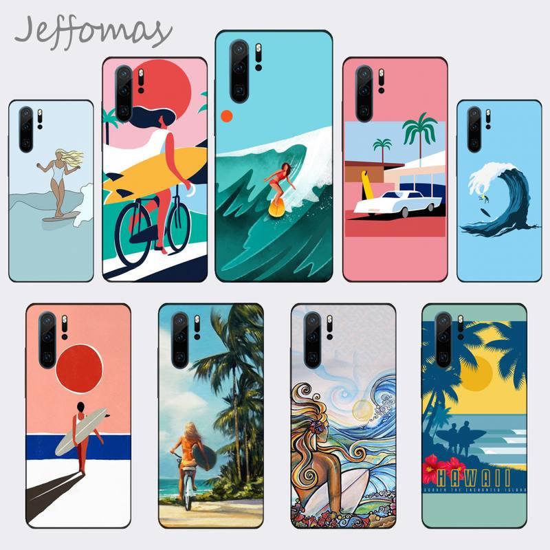 Prancha de surf arte surf menina caso telefone para huawei companheiro 9 10 20 pro lite 20x nova 3e p10 plus p20 pro honor10 lite