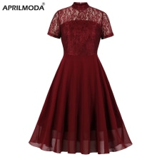 Lace Solid Color Red Dress Chiffon Swing Summer Formal Party Gowns Women Formal Short Sleeve O Neck