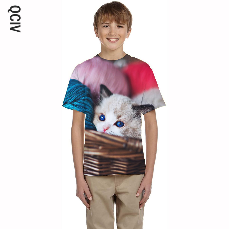 QCIV футболка с мультяшным рисунком кошки детские футболки с изображением животных 3d футболки-новинки прикольные повседневные брюки; Футбол...