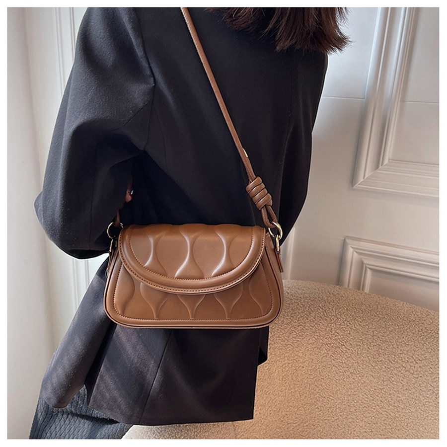 Small PU Leather Underarm Crossbody Bags for Women 2021 Winter Simple Style Lady Shoulder Purses Handbags