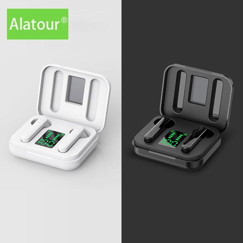 Alatour Wireless Headphones Bluetooth 5.0 Earphones Sport LED digital display Headset  Charging box