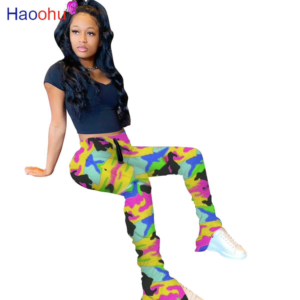 Pantalones de chándal apilados con estampado de camuflaje de arcoíris para mujer, pantalones elásticos de cintura alta, pantalones casuales con dobladillo dividido, mallas para correr