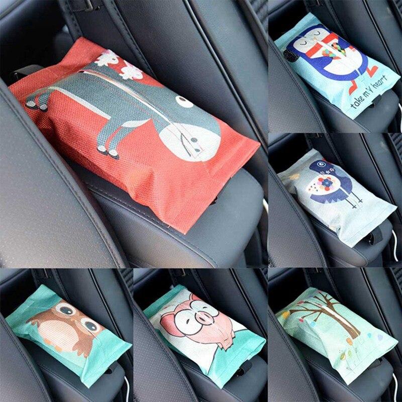 Caja de almacenamiento colgante para asiento de coche de tela de dibujos animados, contenedor para pañuelos, pañuelos de papel para servilletero, caja