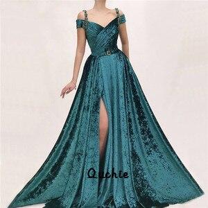 Emerald Green Slit Velour Evening Dresses Off Shoulder Special Occasion robe soiree Islamic Dubai Kaftan Saudi Arabic Prom Gown