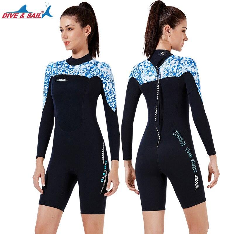 Traje de neopreno corto de 1,5mm para mujer trajes de buceo surf natación manga larga mantener el calor en la espalda Zip para deportes estampados acuáticos