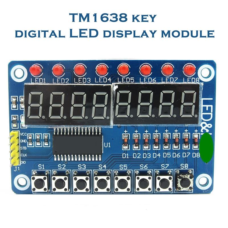 Módulo de visualización de teclas TM1638 para AVR Arduino, tubo LED Digital de 8 bits, 8 bits, WAVGAT