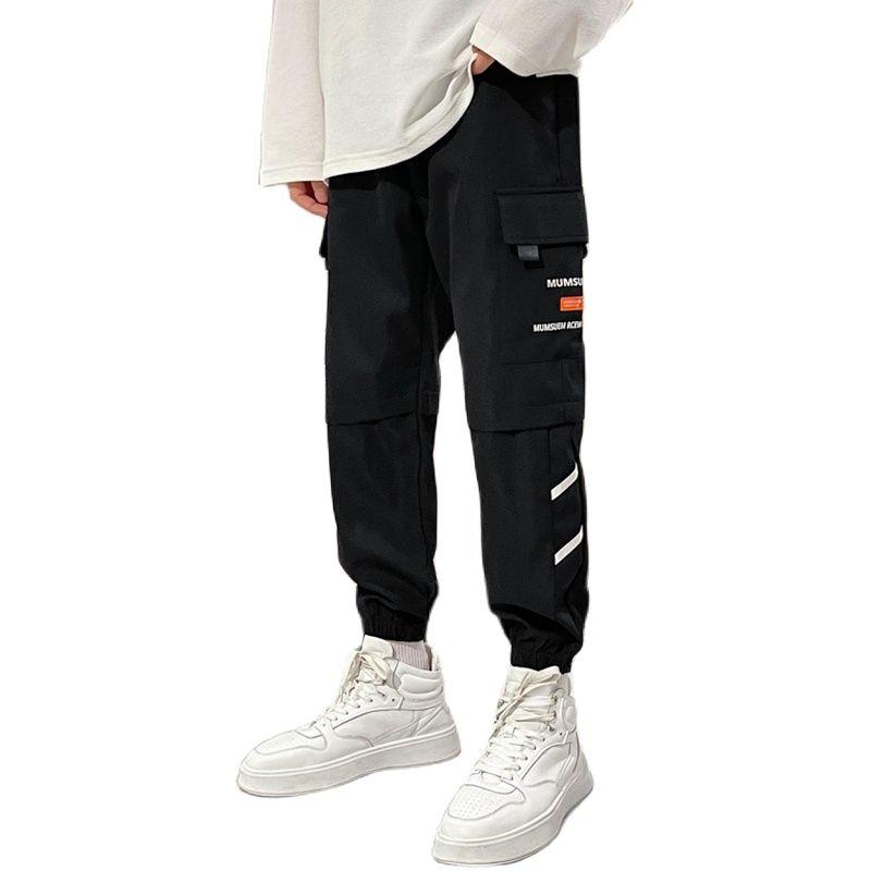 Брюки-карго мужские повседневные, модные однотонные штаны-карго с карманами, трендовые маленькие штаны, четыре цвета, на осень