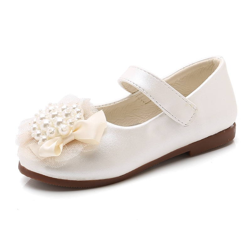 Girls Princess Shoes Children's Flats for Big Girls Kids Dress Shoes Lace with Pearls Beading for Wedding Party Sweet Soft 26-36