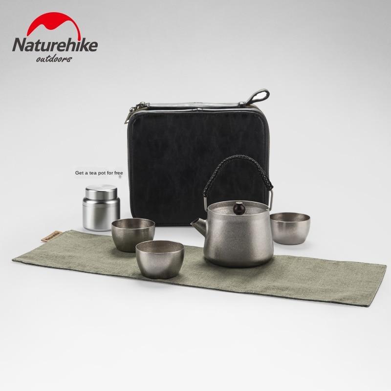 Naturehike, juego de té de titanio salvaje, taza de té pequeña de titanio puro, dispositivo para hacer té al aire libre, tetera de titanio, taza de titanio