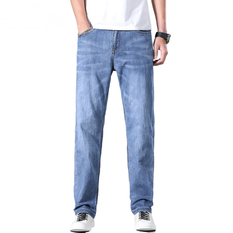 2021 Spring/Summer Classic Brand Men's Loose Straight Lightweight Jeans High Quality Stretch Large Size Fashion Thin Denim Jeans