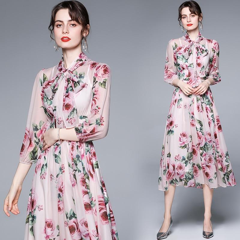 ZUOMAN Women Elegant Floral Chiffon Dress Festa High Quality Long Pink Wedding Party Robe Femme Vintage Bow Designer Vestidos