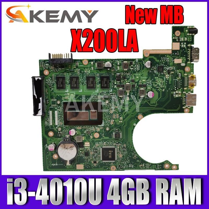 Akemy X200LA i3-4010 4GB RAM placa base REV2.1 para For Asus F200LA F200L X200L X200LA placa base de computadora portátil 100% prueba