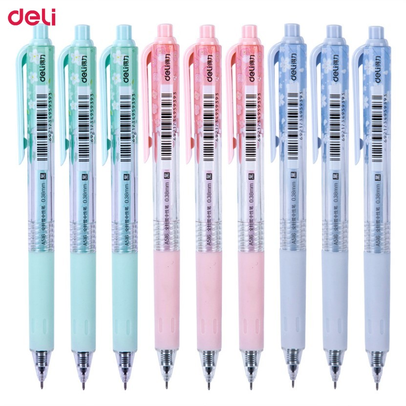 Deli bolígrafo de Gel de tinta negra 60 uds 0,38mm lindo cereza Gel bolígrafo estudiante papelería suministros de escritura Corea pluma Kawaii regalo