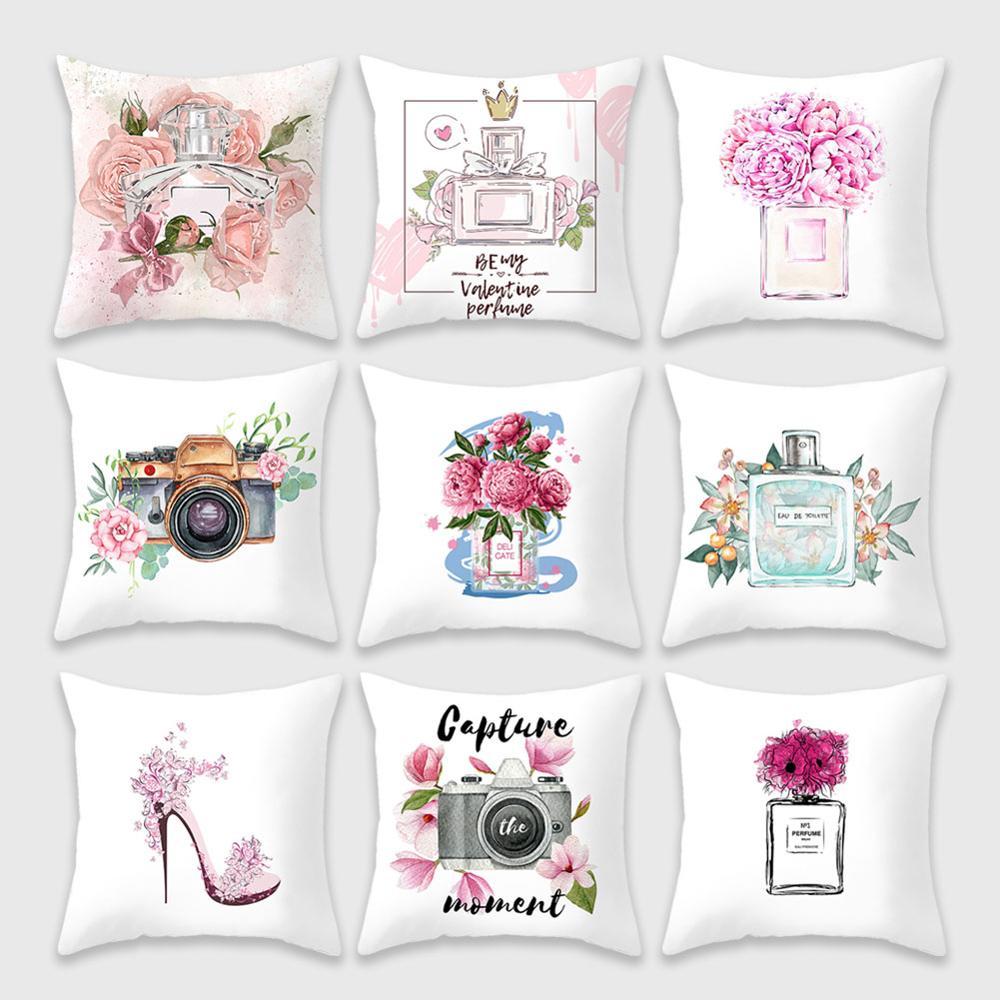 Botella de Perfume de funda de cojín, Serie de 45x45 Día de San Valentín funda de almohada Super funda de almohada suave flores para fundas para almohadas de sofá