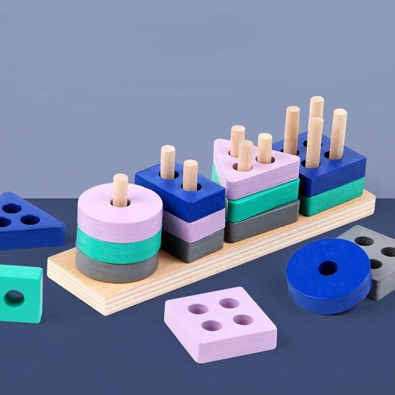 Игрушка Монтессори деревянные строительные блоки Обучающие Игрушки для раннего развития Цвет Форма матч дети деревянный пазл игрушки для ...
