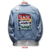 2021 spring and autumn new mens casual ripped denim jacket fashion trend letter printed denim jacket