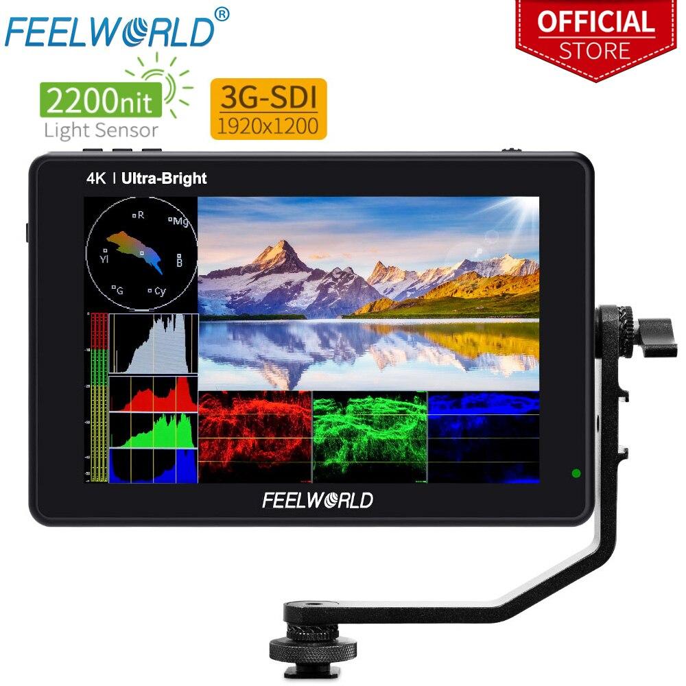FEELWORLD-شاشة LUT7S الميدانية لكاميرا DSLR ، مع منظار موجه ، 7 بوصة ، 3G-SDI 4KHDMI ، 2200 شمعة