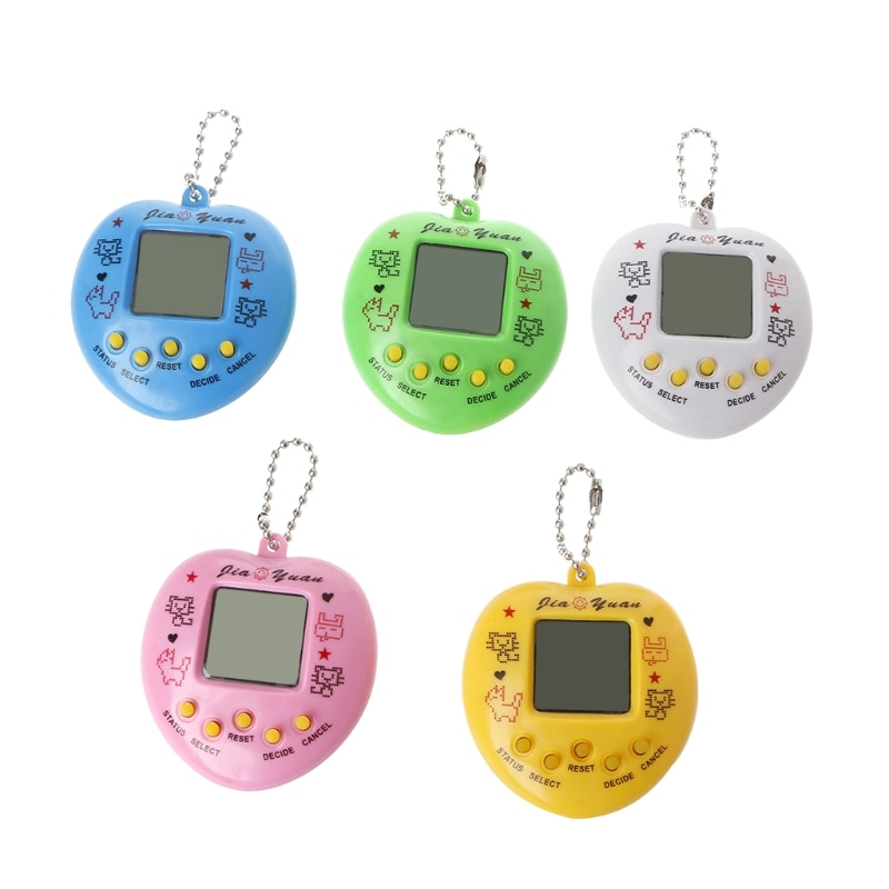 LCD Virtual Digital Pet Handheld Electronic Game Machine With Keychain Heart Shape E65D