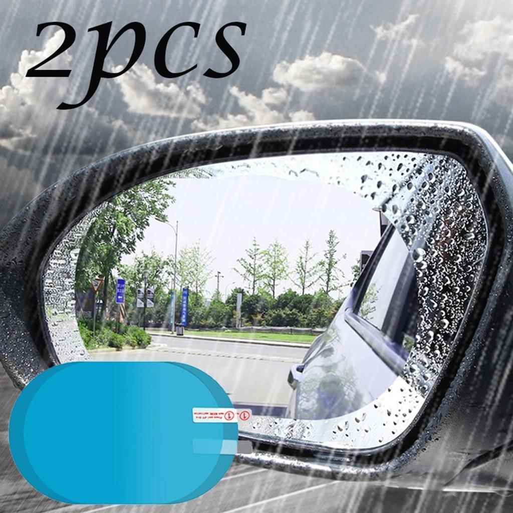 2 uds parabrisas del coche Anti-niebla impermeable Anti-Alta Luz lavable película protectora para espejo ventana transparente a prueba de lluvia espejo retrovisor