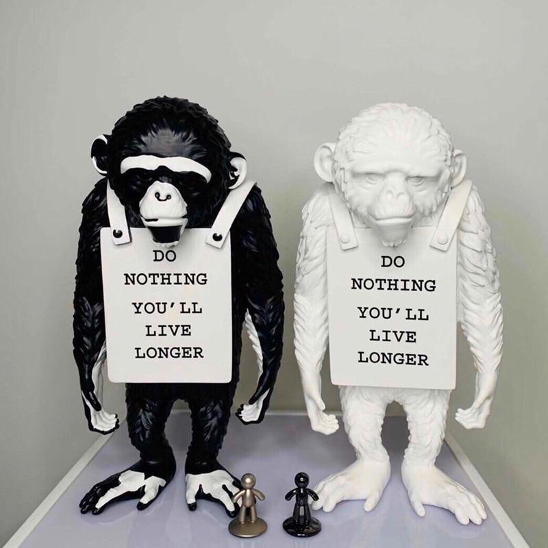 Banksy Monkey Street-تمثال قرد ، فن راتينج إبداعي وحرف يدوية ، لا شيء ، تعيش أطول ، زخرفة