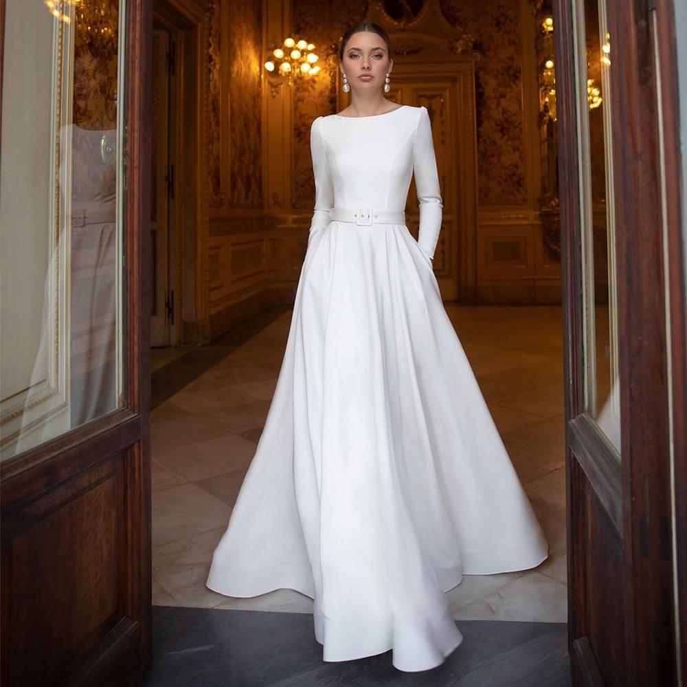 متواضع جيرسي فساتين الزفاف رقبة دائرية أبيض عاجي كم طويل وشاح سويب تراين A خط فساتين زفاف Vestido de Novia