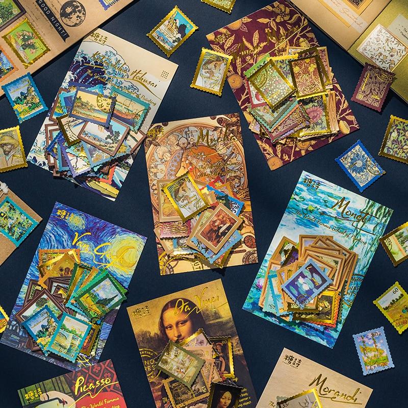 40 шт. всемирно известная живопись бронзовые штампы наклейки эстетика INS Ретро Ван Гог звездное небо монет пуля журнальные аксессуары