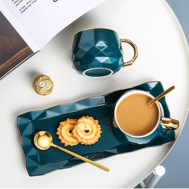 طقم فناجين قهوة من السيراميك الاسكندنافي مع ملعقة وصحن ، فاخر ، أوروبي ، للإفطار والوجبات الخفيفة وشاي بعد الظهر