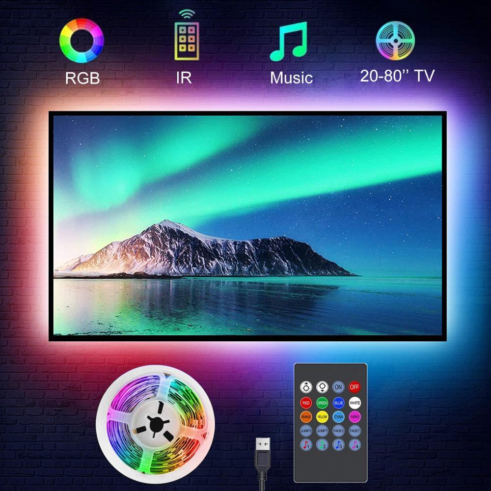 Подсветильник для телевизора, музыка, синхронизация, питание от USB RGB5050, светодиодная ленсветильник для телевизора 15 - 80 дюймов, зеркала, ПК