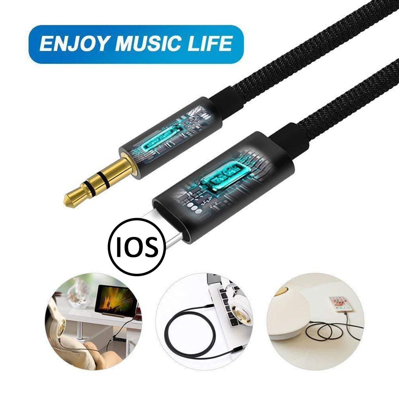 Audio Splitter Cable For Iphone 12 11 Pro XR 8 Pin To 3.5 mm Jack Aux Cable Car Speaker Headphone Adapter for Iphone ipad Tablet