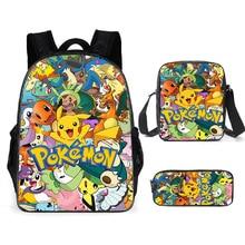 Mochila Pokemon Pikachu, bolsa escolar para niños, estuche escolar, bolsa de dibujos animados de Anime, suministros para niños, mochila para ordenador portátil
