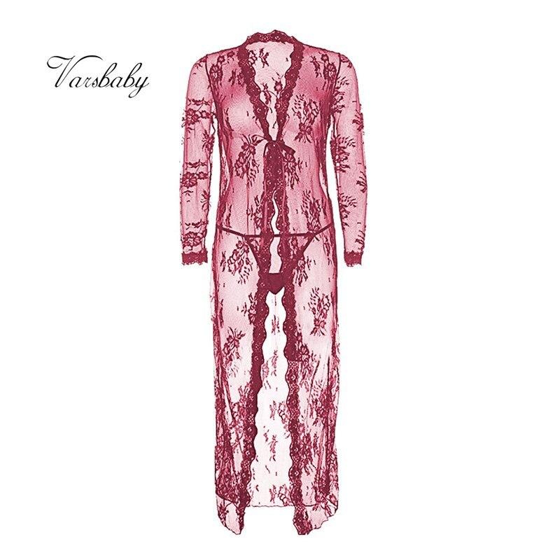 Varsbaby sexy de encaje transparente camisón 3 colores transpirable conjunto bata + g-strings 2 piezas para damas