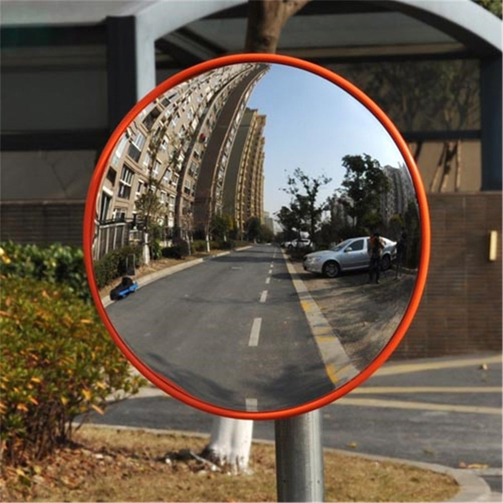 30cm/12''Wide Angle Security Road Mirror Curved For Burglar Outdoor Safurance Roadway Safety Traffic Signal Convex Mirror