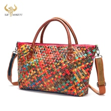 Trend Colorful Real Leather Famous Luxury Patchwork Large Shopping Purse Handbag Shoulder Bag Women