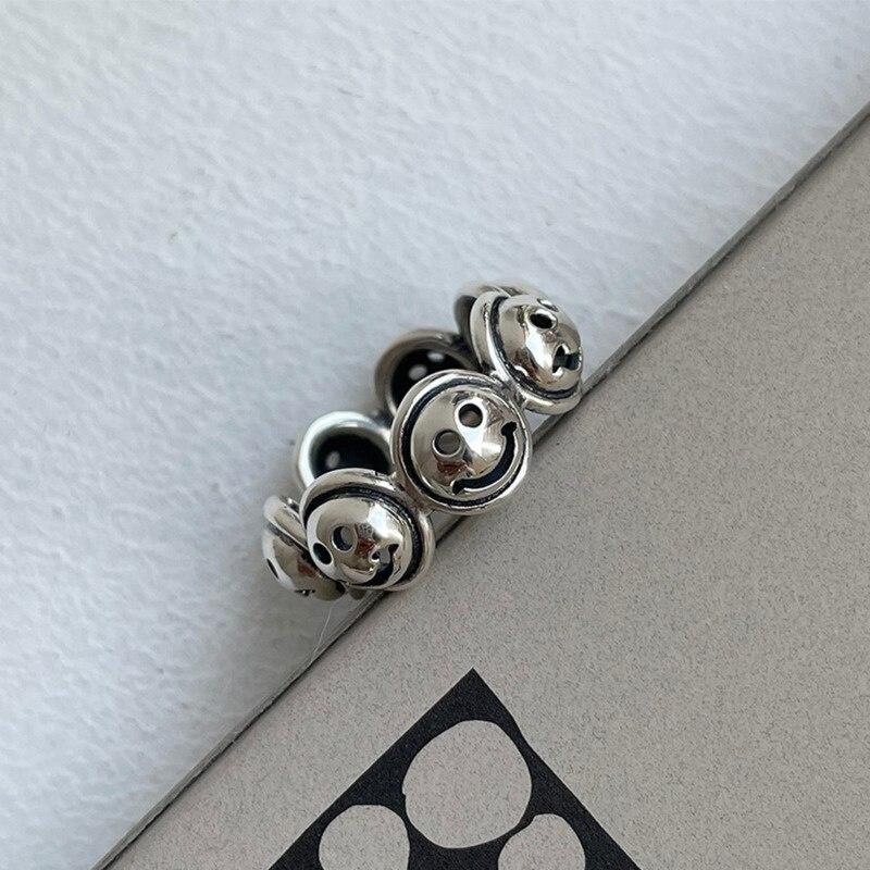 Женское-регулируемое-Винтажное-кольцо-со-смайликом-из-серебра-925-пробы