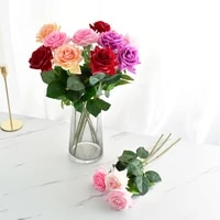 7 pcs real touch rose branch stem latex rose hand feel felt simulation decorative artificial silicone rose flowers home wedding