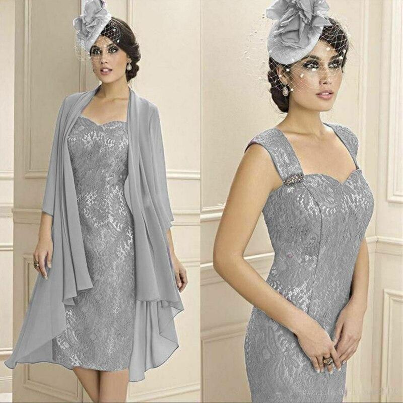 أم العروس فساتين أنيقة رمادي الدانتيل Pantsuit 2 قطعة مطرز زائد حجم ل حفل زفاف ضيف اللباس مع سترة 2021