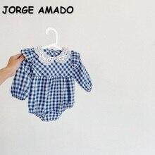2021 Hot Sale New Autumn Baby Girls Bodysuits Blue Plaid White Peter Pan Collar Long Puff Sleeves Ju