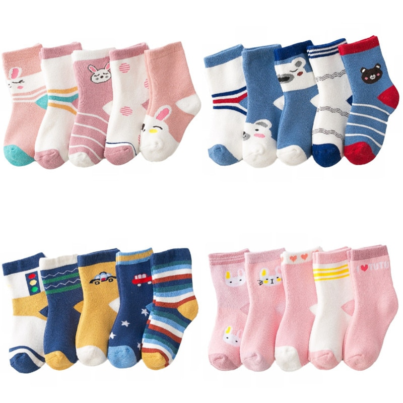5 Pairs/Lot Winter Plus Cotton Thicken Kids Socks Thermal Warm Sock Children Toddler Baby Girls Boys Floor Socks For 1-10 Years