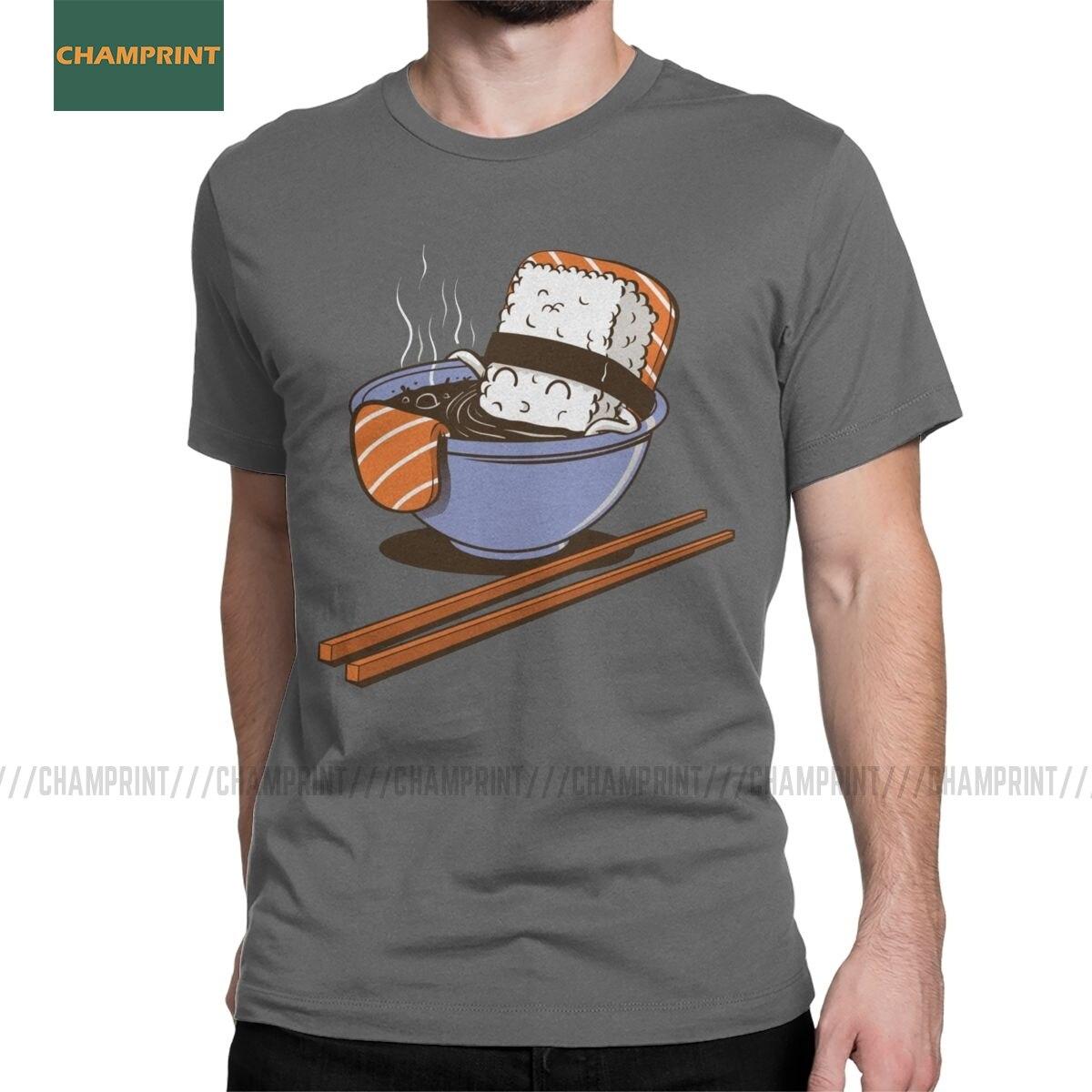Camiseta de algodón comida Sushi camisetas de manga corta Japón lindo Kawaii Wasabi Sashimi arroz dibujos animados Nigiri salmón japonés camisetas