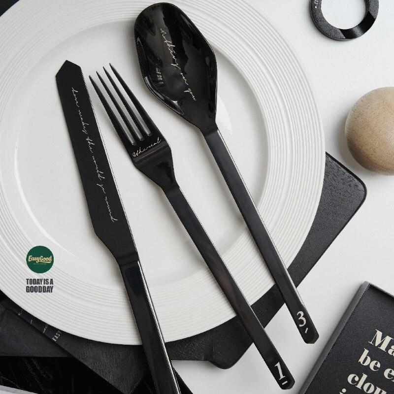 أدوات مائدة معدنية من الفولاذ المقاوم للصدأ ، مجموعة أدوات مائدة إسكندنافية بسيطة ، إبداع ، طقم عشاء أنيق ، هدية منزلية ، EC50CJ