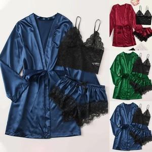 Sexy Silk Satin Pajama Set Women Nightdress Lingerie Robes Underwear Sleepwear Female Lace Pyjama Set Home Wear Nightwear