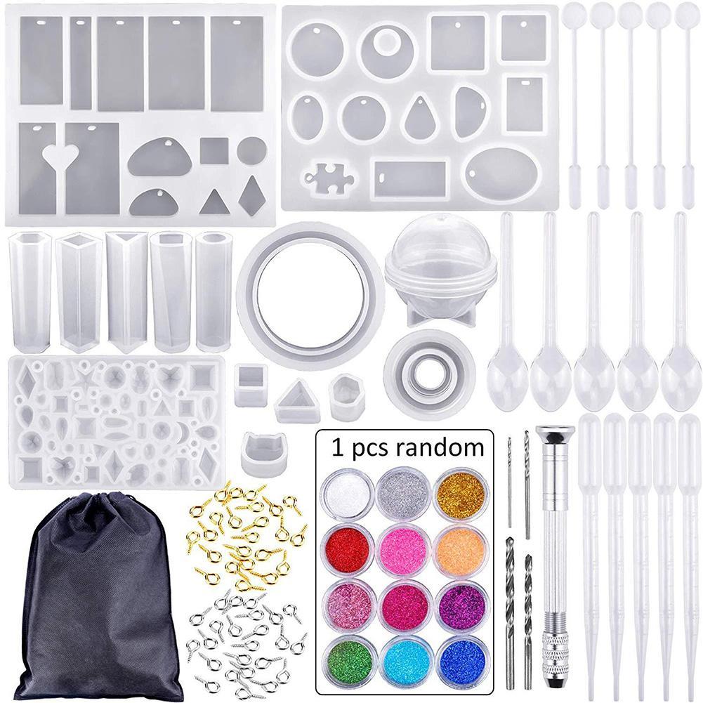 83 шт. силиконовые формы для литья и набор инструментов из эпоксидной смолы для рукоделия с буром и сумкой для изготовления браслетов