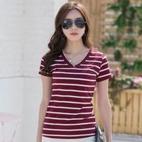 straight stripe t shirt short sleeve womens t shirt slim v neck stitching half sleeve top primer