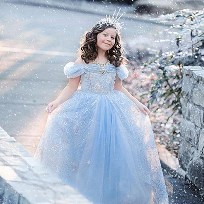 2019 nuevos vestidos para niña Elsa vestidos de princesa Cenicienta disfraz de Cosplay para niña vestidos de princesa Cenicienta