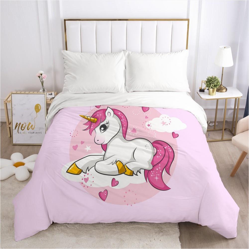 Funda de edredón con dibujos de unicornio rosa, edredón/colcha/funda de Manta 180x210 200x200, ropa de cama 3D para bebés y niños