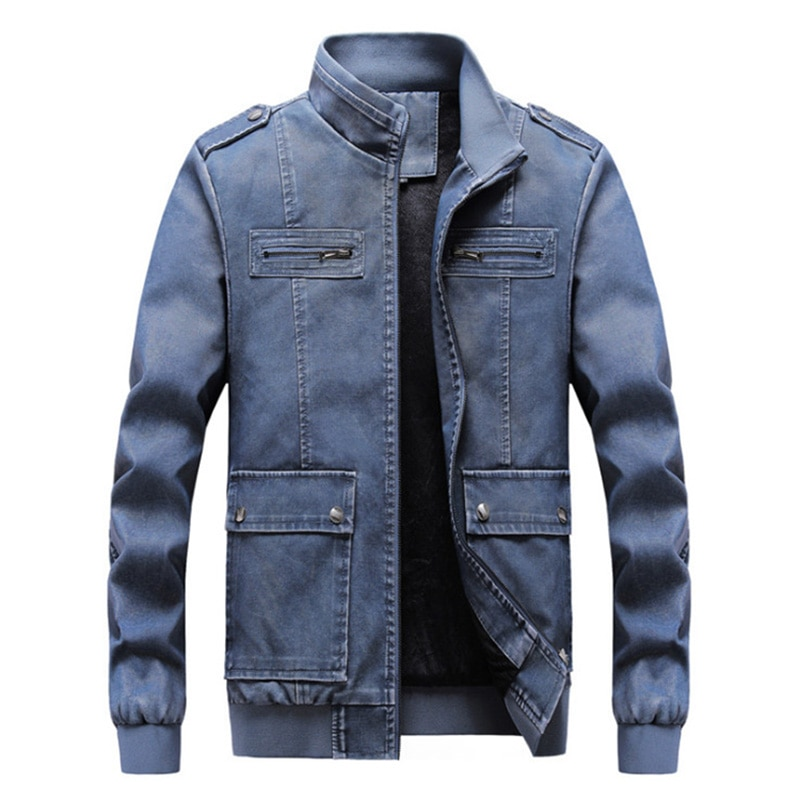 Men's Slim Standing Collar Casual Splicing Solid Leather Jacket Korean Youth Fit Hoodless Zipper Decorative Faux Leather Jacket enlarge